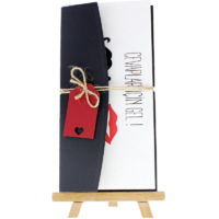 dikdörtgen - Açık Davetiye Zarfı - 21x10-Siyah - İpli, Kırmızı Etiketli