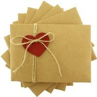kartpostal - Kırmızı Kalpli & İpli Kraft