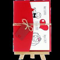 13x18 Kartpostal - Açık Davetiye Zarfı - 13x18-Kırmızı- İpli, Kırmızı Etiketli