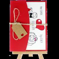 13x18 Kartpostal - Açık Davetiye Zarfı - 13x18-Kırmızı- İpli, Kraft Etiketli