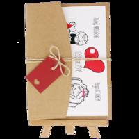 13x18 Kartpostal - Açık Davetiye Zarfı - 13x18-Kraft -  İpli, Kırmızı Etiketli