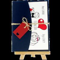 13x18 Kartpostal - Açık Davetiye Zarfı - 13x18-Lacivert-  İpli, Kırmızı Etiketli
