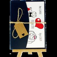 13x18 Kartpostal - Açık Davetiye Zarfı - 13x18-Lacivert-  İpli, Kraft Etiketli