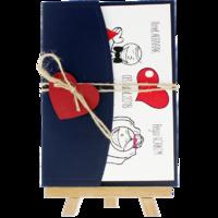 13x18 Kartpostal - Açık Davetiye Zarfı - 13x18-Lacivert- Kırmızı Kalpli