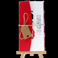 dikdörtgen - Açık Davetiye Zarfı - 21x10-Kırmızı- İpli, Kraft Etiketli