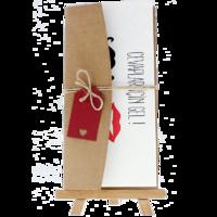 dikdörtgen - Açık Davetiye Zarfı - 21x10-Kraft -  İpli, Kırmızı Etiketli