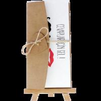 dikdörtgen - Açık Davetiye Zarfı - 21x10-Kraft -  İpli, Kraft Kalpli