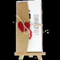 Açık Davetiye Zarfı - 21x10-Kraft- Kırmızı Kalpli