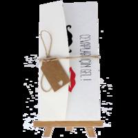 dikdörtgen - Açık Davetiye Zarfı - 21x10-Krem-  İpli, Kraft Etiketli