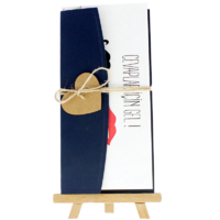 dikdörtgen - Açık Davetiye Zarfı - 21x10-Lacivert-  İpli, Kraft Kalpli