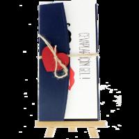 dikdörtgen - Açık Davetiye Zarfı - 21x10-Lacivert- Kırmızı Kalpli
