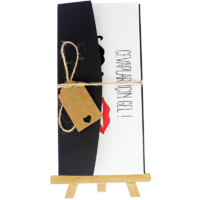 dikdörtgen - Açık Davetiye Zarfı - 21x10-Siyah - İpli, Kraft Etiketli