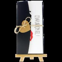 dikdörtgen - Açık Davetiye Zarfı - 21x10-Siyah - İpli, Kraft Kalpli