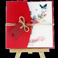 kare - Açık Davetiye Zarfı - Kare-Kırmızı- İpli, Kırmızı Etiketli