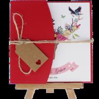 kare - Açık Davetiye Zarfı - Kare-Kırmızı- İpli, Kraft Etiketli