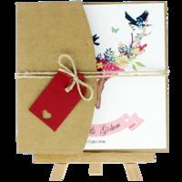kare - Açık Davetiye Zarfı - Kare-Kraft -  İpli, Kırmızı Etiketli