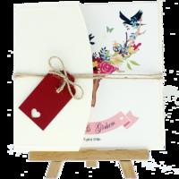 kare - Açık Davetiye Zarfı - Kare-Krem-  İpli, Kırmızı Etiketli