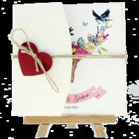 kare - Açık Davetiye Zarfı - Kare-Krem- Kırmızı Kalpli
