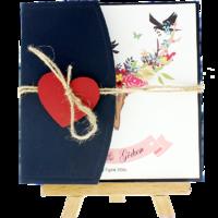kare - Açık Davetiye Zarfı - Kare-Lacivert- Kırmızı Kalpli