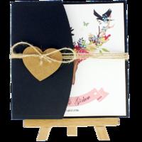 kartpostal - Açık Davetiye Zarfı - Kare-Siyah - İpli, Kraft Kalpli