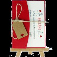 kartpostal - Açık Davetiye Zarfı - Kartpostal-Kırmızı- İpli, Kraft Etiketli