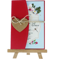 kartpostal - Açık Davetiye Zarfı - Kartpostal-Kırmızı- İpli, Kraft Kalpli