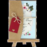 kartpostal - Açık Davetiye Zarfı - Kartpostal-Kraft -  İpli, Kırmızı Etiketli