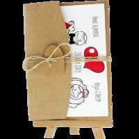 kartpostal - Açık Davetiye Zarfı - Kartpostal-Kraft -  İpli, Kraft Kalpli