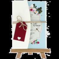 kartpostal - Açık Davetiye Zarfı - Kartpostal-Krem-  İpli, Kırmızı Etiketli