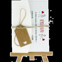 kartpostal - Açık Davetiye Zarfı - Kartpostal-Krem-  İpli, Kraft Etiketli