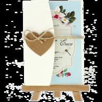 kartpostal - Açık Davetiye Zarfı - Kartpostal-Krem-  İpli, Kraft Kalpli