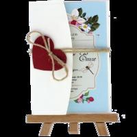 kartpostal - Açık Davetiye Zarfı - Kartpostal-Krem- Kırmızı Kalpli