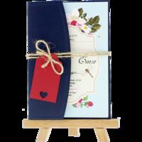 kartpostal - Açık Davetiye Zarfı - Kartpostal-Lacivert-  İpli, Kırmızı Etiketli
