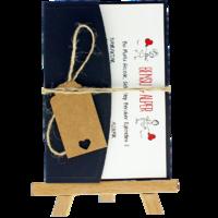 kartpostal - Açık Davetiye Zarfı - Kartpostal-Lacivert-  İpli, Kraft Etiketli