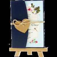 kartpostal - Açık Davetiye Zarfı - Kartpostal-Lacivert-  İpli, Kraft Kalpli