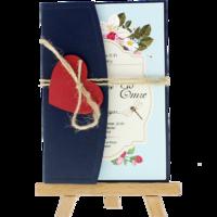 kartpostal - Açık Davetiye Zarfı - Kartpostal-Lacivert- Kırmızı Kalpli