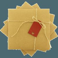 kare - Kırmızı Etiketli & İpli Kraft
