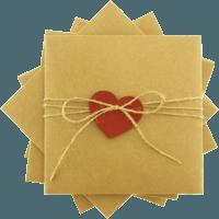 kare - Kırmızı Kalpli & İpli Kraft