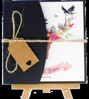 kare - Siyah Yarım Davetiye Zarfı