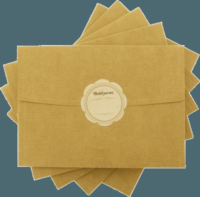 13x18 bekliyoruz etiketli kraft davetiye zarfı