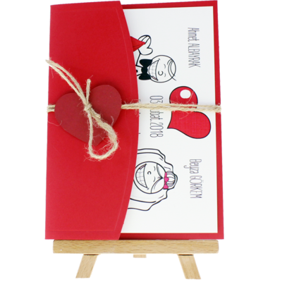 Açık Davetiye Zarfı - 13x18-Kraft- Kırmızı Kalpli