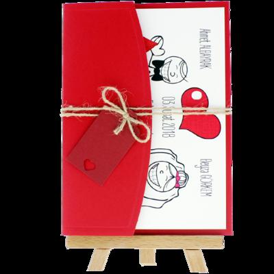 Açık Davetiye Zarfı - 13x18-Kırmızı- İpli, Kırmızı Etiketli
