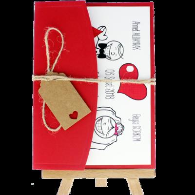 Açık Davetiye Zarfı - 13x18-Kırmızı- İpli, Kraft Etiketli