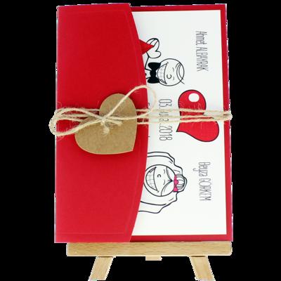 Açık Davetiye Zarfı - 13x18-Kırmızı- İpli, Kraft Kalpli