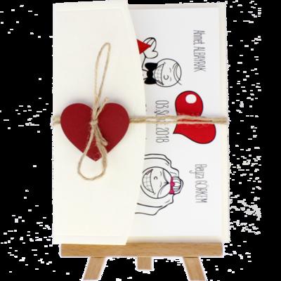 Açık Davetiye Zarfı - 13x18-Krem- Kırmızı Kalpli
