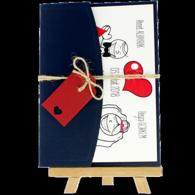 Açık Davetiye Zarfı - 13x18-Lacivert- İpli, Kırmızı Etiketli