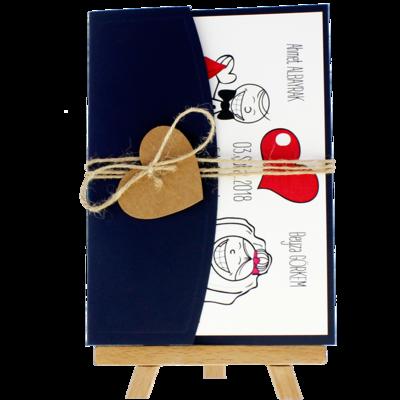 Açık Davetiye Zarfı - 13x18-Lacivert- İpli, Kraft Kalpli