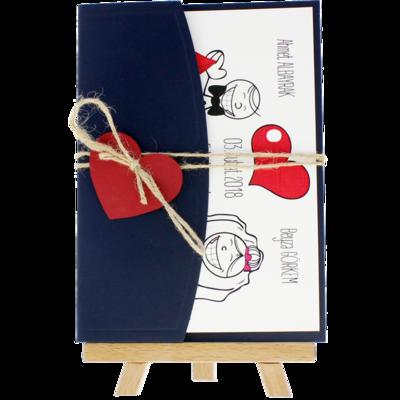 Açık Davetiye Zarfı - 13x18-Lacivert- Kırmızı Kalpli