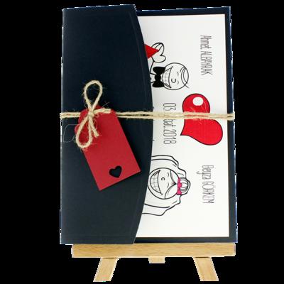 Açık Davetiye Zarfı - 13x18-Siyah - İpli, Kırmızı Etiketli
