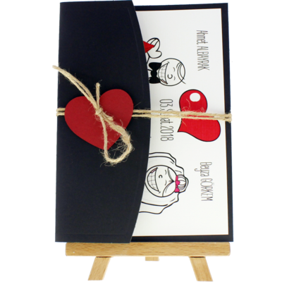 Açık Davetiye Zarfı - 13x18-Siyah- Kırmızı Kalpli